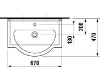 JIKA MIO Umyvadlo do nábytku 67cm s otvorem pro baterii