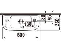 JIKA OLYMP Umývátko 50x23cm s otvorem pro baterii vpravo