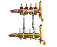 KIIPTHERM PROFI 4 -  4 okruhy, rozdělovač podlahového vytápění s hlavicemi a průtokoměry