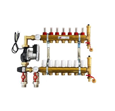 KIIPTHERM PROFI 5 -  7 okruhů, rozdělovač podlahového vytápění s čerpadlem, směšováním, hlavice a průtokom.