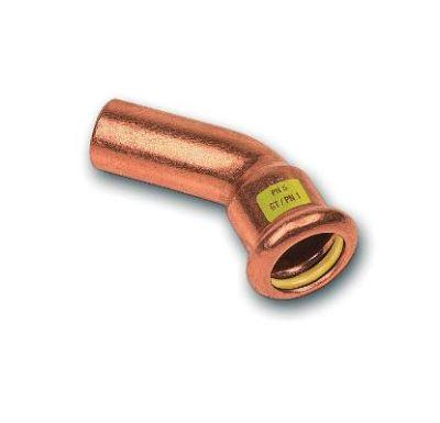 CU lisovací koleno 45° 9040 - 22 - pro topení i rozvod plynu F/M