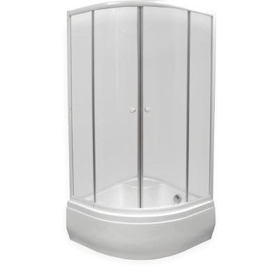 EASY sprchový kout  čtvrtkruh 90x90x160 cm - bílý - sklo - čiré