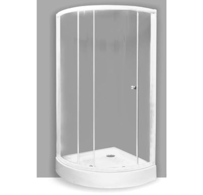 PROFI sprchový kout  čtvrtkruh  90x90x190 cm - bílý -sklo -grape