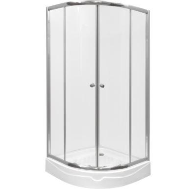 PROFI-RICH sprchový kout  čtvrtkruh 100x100x185 chrom - sklo - čiré