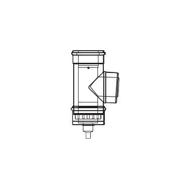 ALMEVA LIK revizní T-kus s odtokem a změnou směru - 80/125