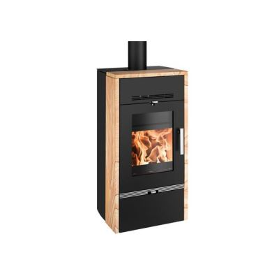 Haas+Sohn Farum TV Krbová kamna s výměníkem 11,1kW-černá, woodstone prestige +koš ZDARMA