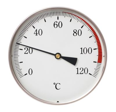"""Teploměr DN 80, 0-120°C, zad.výv. 1/2"""",jím.100 mm"""