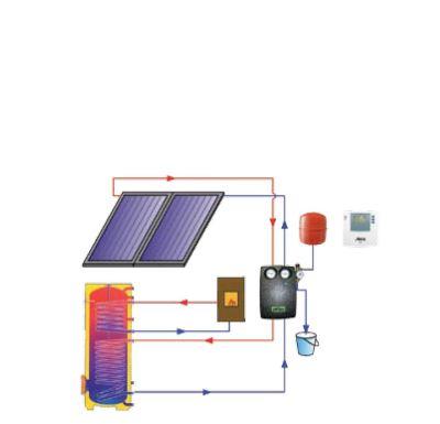 Reflex solární paket TV2 D - uchycení na rovnou střechu, volnou montáž