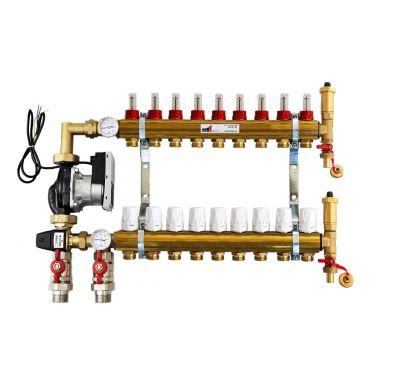 KIIPTHERM PROFI 5 -  9 okruhů, rozdělovač podlahového vytápění s čerpadlem, směšováním, hlavice a průtokom.