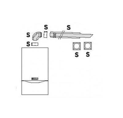 Vaillant Vodorovné odkouření 1m, ø 80/125 mm