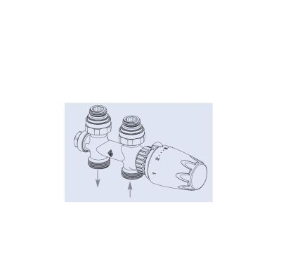 Radik armatura HM přímá - bílá termostatická hlavice