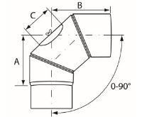 Almeva Koleno 0-90° nastavitelné s čistícím otvorem - ø150
