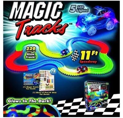 Magic Tracks Set Svítící autodráha + Sada s křižovatkou + Policejní auto