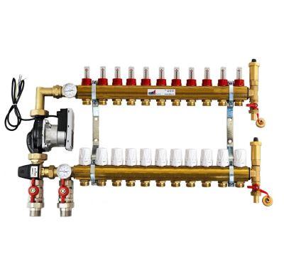 KIIPTHERM PROFI 5 - 11 okruhů, rozdělovač podlahového vytápění s čerpadlem, směšováním, hlavice a průtokom.