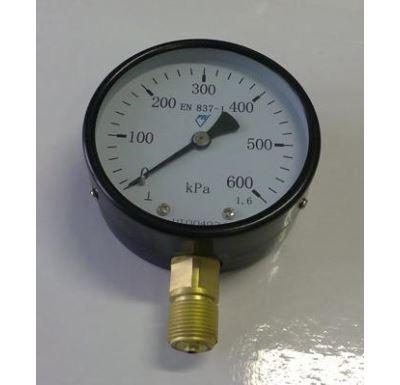 """Manometr - tlakoměr typ 312 - 100mm M20x1,5 """" Radiál - spodní vývod 0-600 kPa"""