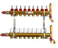 KIIPTHERM PROFI 4 -  9 okruhů, rozdělovač podlahového vytápění s hlavicemi a průtokoměry