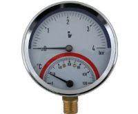 Termomanometr 81mm 0-4 bar, 0-120°C, spodní vývod 1/2