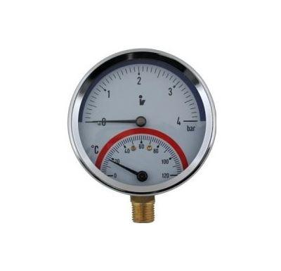 """Termomanometr 81 mm 0-6 bar,0-120°C, spodní vývod 1/2"""""""