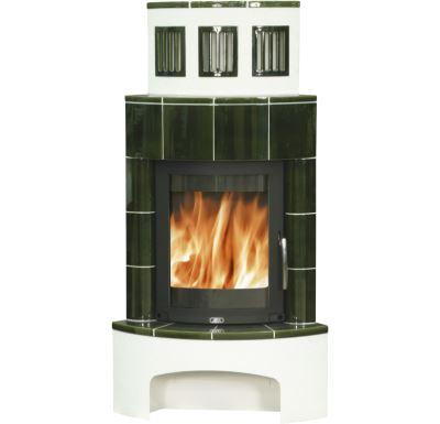 ABX Normandie Zelená - Kachlová kamna rohové | AKCE kazeta značkového vína