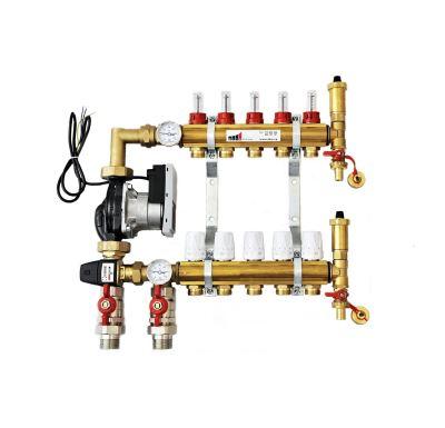 KIIPTHERM PROFI 5 -  5 okruhů, rozdělovač podlahového vytápění s čerpadlem, směšováním, hlavice a průtokom.
