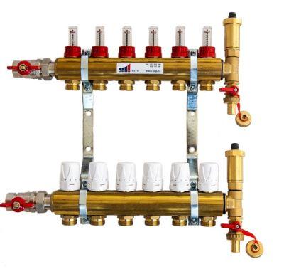 KIIPTHERM PROFI 4 -  6 okruhů, rozdělovač podlahového vytápění s hlavicemi a průtokoměry