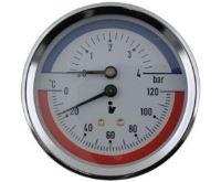 Termomanometr 81mm 0-4 bar, 0-120°C, zadní vývod 1/2