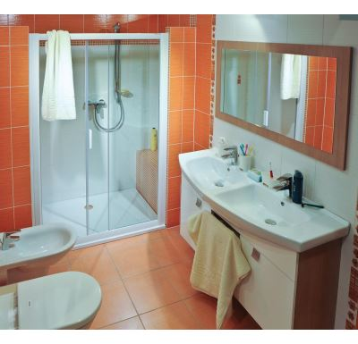 RAVAK Sprchové dveře Rapier NRDP2-110 L white+transparent