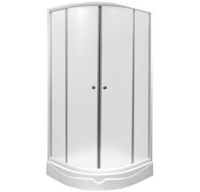 PROFI-RICH sprchový kout  čtvrtkruh  90x90x190 cm - bílý - sklo - čiré