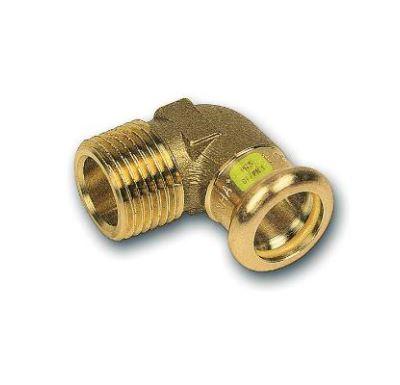 """CU lisovací koleno přechodové 90° 8092 - 28 x 1"""" - pro topení i rozvod plynu F/M"""