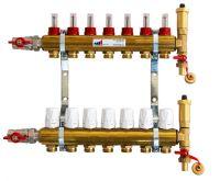 KIIPTHERM PROFI 4 -  7 okruhů, rozdělovač podlahového vytápění s hlavicemi a průtokoměry