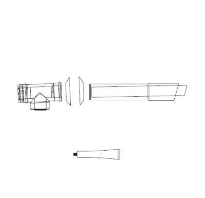 ALMEVA Univerzální sestava fasádního odkouření 60/100 - 1 m PPH-PPH