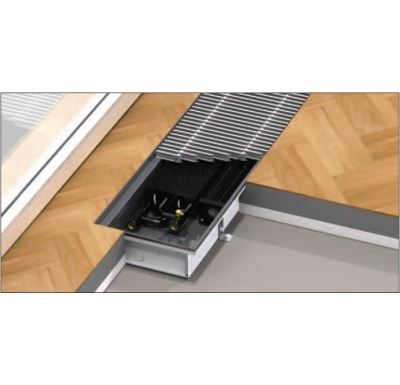 BOKI InFloor Podlahový konvektor F1P  90/180-5000mm - pozink S ventilátorem