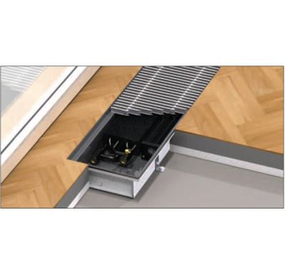 BOKI InFloor Podlahový konvektor F1P  90/260-4500mm - pozink S ventilátorem