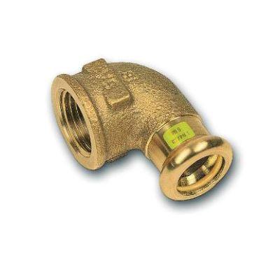 """CU lisovací koleno přechodové 90° 8090 - 15 x 1/2"""" - pro topení i rozvod plynu F/F"""