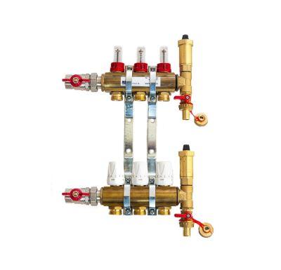 KIIPTHERM PROFI 4 -  3 okruhy, rozdělovač podlahového vytápění s hlavicemi a průtokoměry