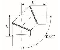 Almeva Koleno 0-90° nastavitelné - ø180