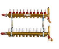 KIIPTHERM PROFI 4 - 11 okruhů, rozdělovač podlahového vytápění s hlavicemi a průtokoměry