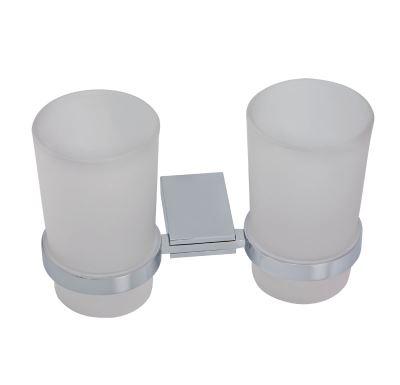 NOVASERVIS Dvojitý držák kartáčků a pasty sklo  Metalia 9 chrom - 0957,0