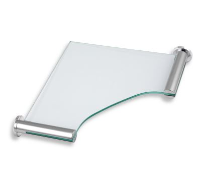 NOVASERVIS Rohová polička sklo pískované  Metalia 2 chrom - 6235,0S