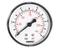"""Manometr - tlakoměr 63mm 1/4"""" Axiál - zadní vývod 0-10 bar"""