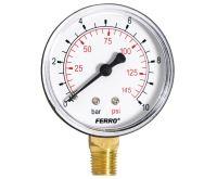 """Manometr - tlakoměr 63mm 1/4"""" Radiál - spodní vývod 0-10 bar"""